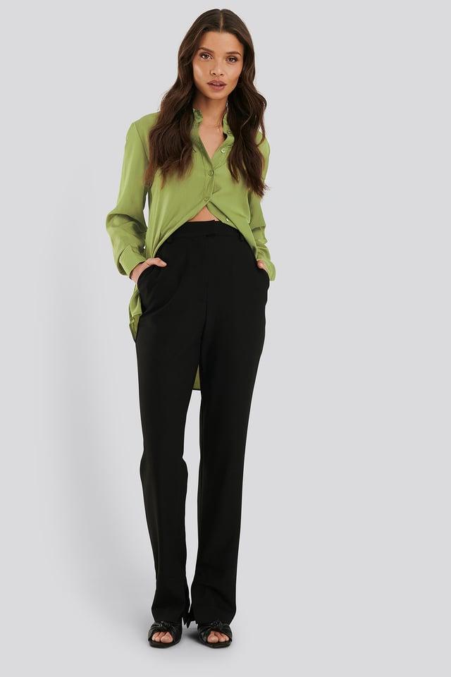 Dressbukser Med Splitt Black