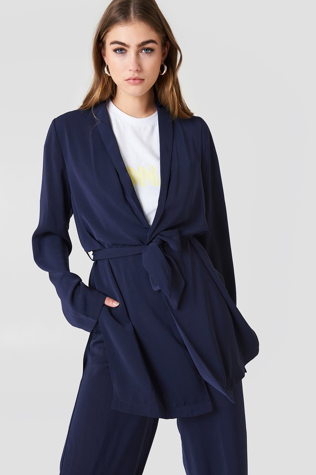 Side Slit Tied Waist Blazer Midnight Blue