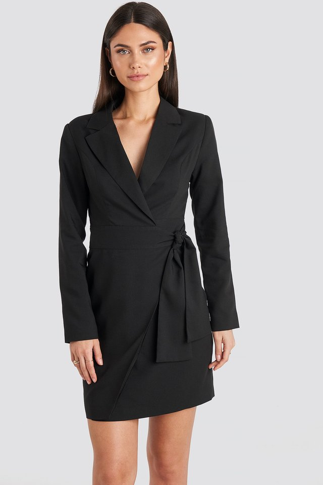 Side Tie Blazer Dress Black