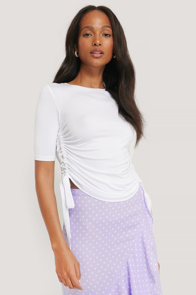 White Side Tie Cropped T-Shirt