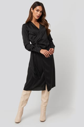 Black Side Tie Satin Midi Dress
