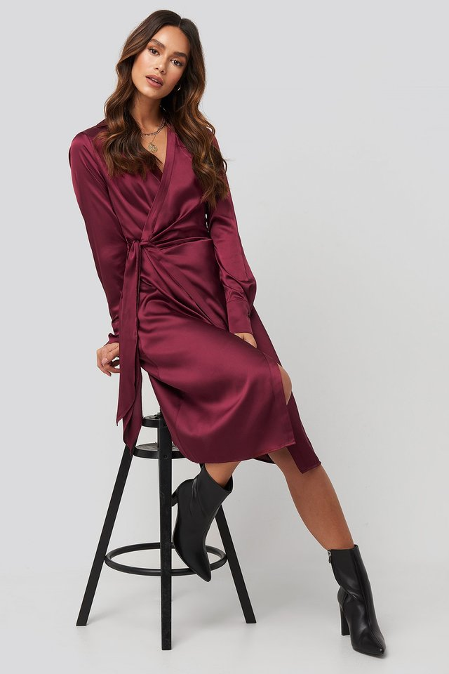 Side Tie Satin Midi Dress Burgundy