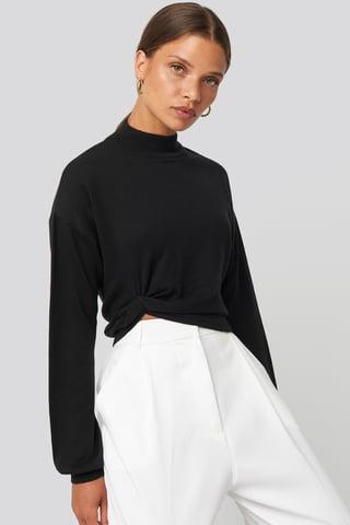 Black Side Twisted Sweater