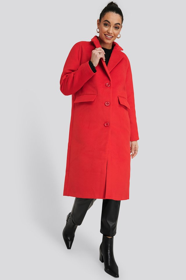 Single Breasted Lapel Coat Red