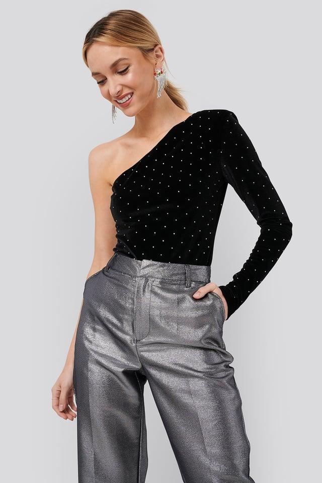 Single Sleeve Velvet Bodysuit Black