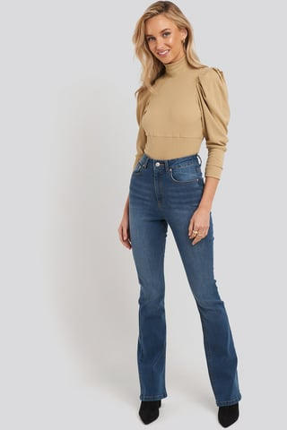 Mid Blue Skinny Bootcut Jeans