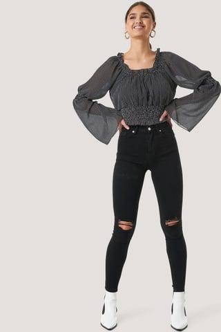 Black Skinny High Waist Destroyed Jeans