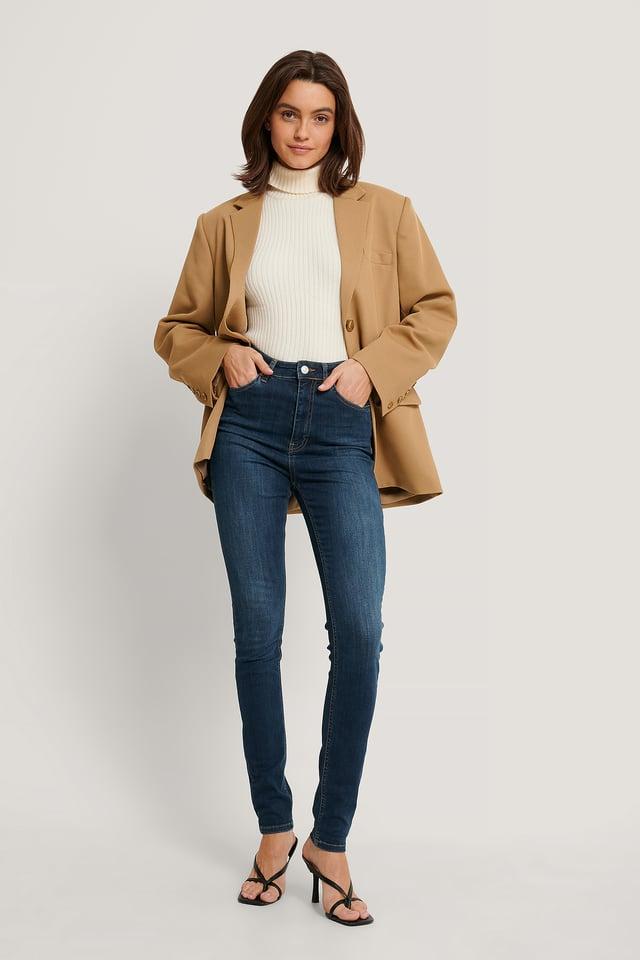 Organic Skinny High Waist Jeans Tall Dark Blue