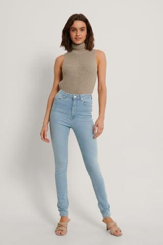 Light Blue Økologiske Skinny Jeans Med Høyt Liv
