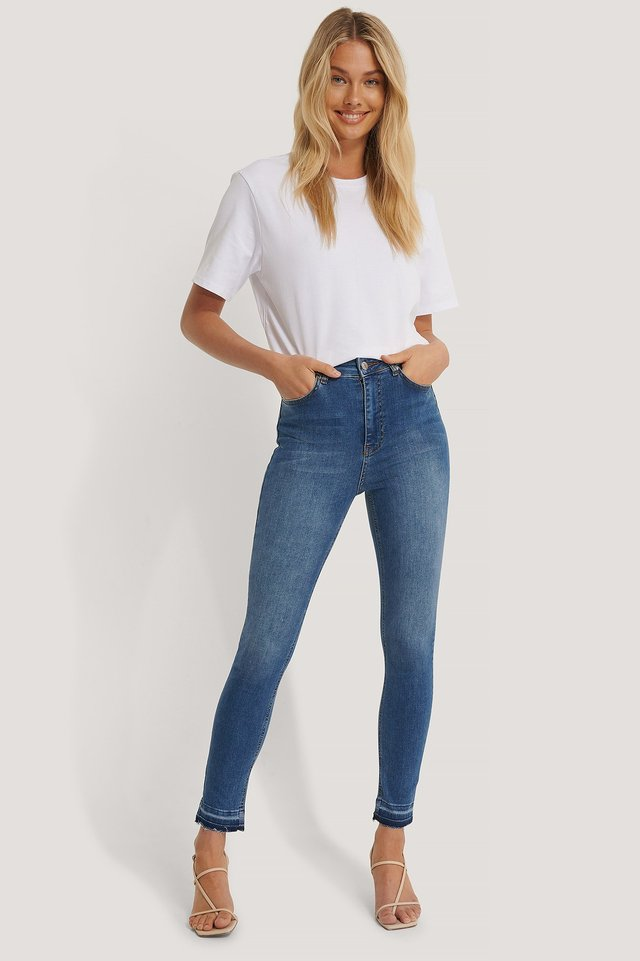 Mid Blue Skinny High Waist Open Hem Jeans