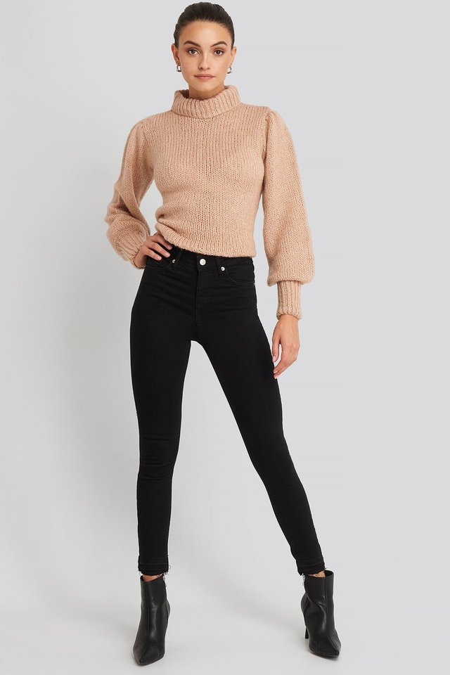 Skinny High Waist Open Hem Jeans Black