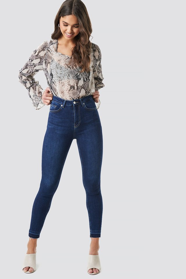 Skinny High Waist Open Hem Jeans Dark Blue
