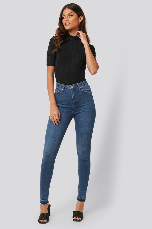 Mid Blue Skinny High Waist Open Hem Jeans Tall