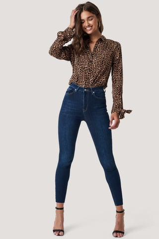 Dark Blue Skinny High Waist Raw Hem Jeans