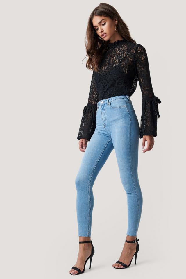 Skinny High Waist Raw Hem Jeans Light Blue