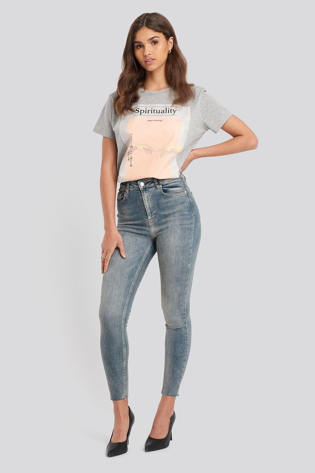 Skinny High Waist Raw Hem Jeans Washed Blue
