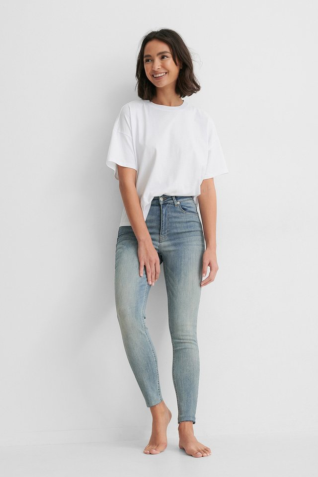 Washed Blue Organic Skinny High Waist Raw Hem Jeans