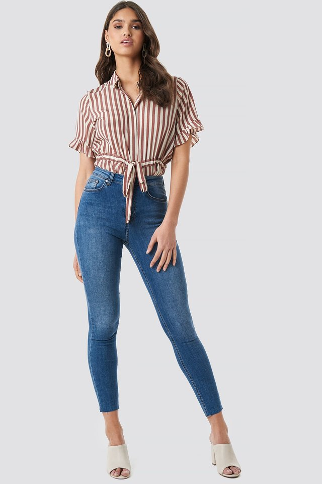 Skinny High Waist Raw Hem Jeans Mid Blue