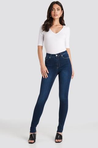 Dark Blue Skinny High Waist Raw Hem Jeans Tall