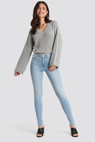 Light Blue Skinny High Waist Raw Hem Jeans Tall