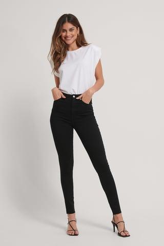 Black Ekologiska Skinny Långa Jeans Med Hög Midja Och Rå Fåll