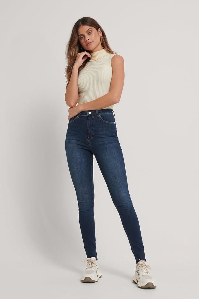 Dark Blue Organic Skinny High Waist Raw Hem Jeans Tall