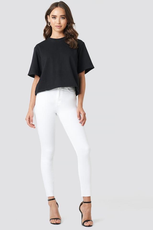 White Skinny High Waist Raw Hem Jeans