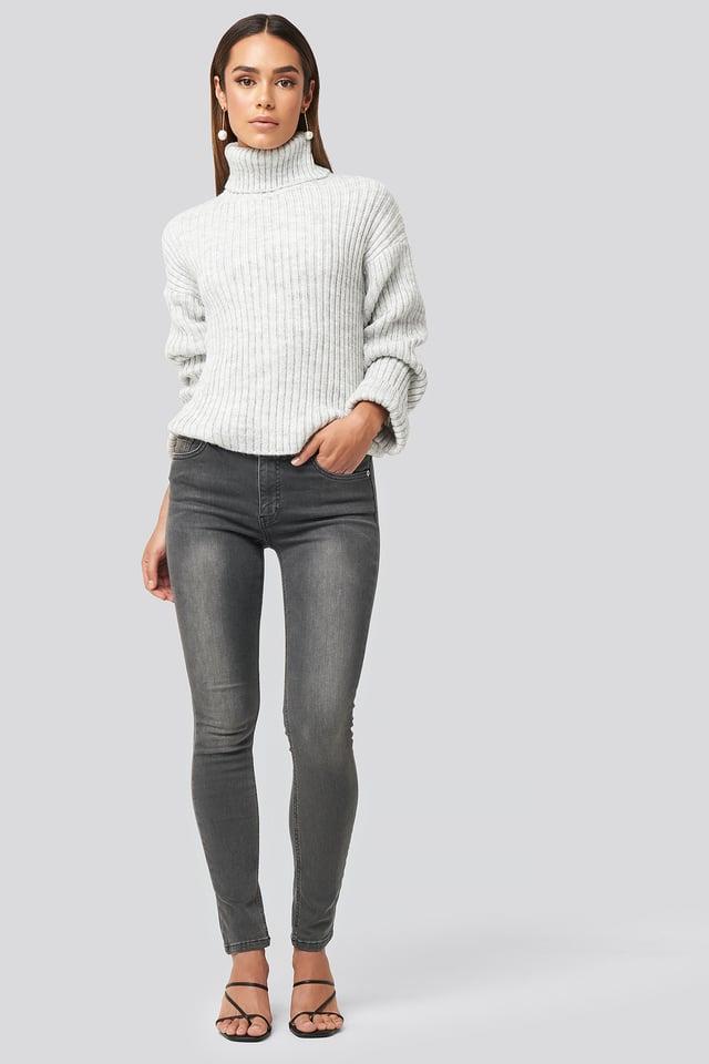 Grey Skinny Mid Waist Jeans