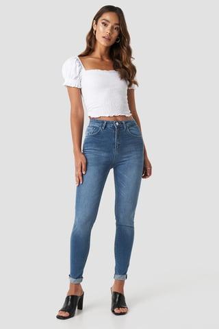Mid Blue Skinny Raw Hem Jeans