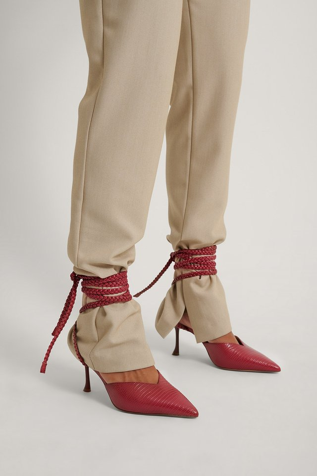 Juicy Rasberry Slanted Stiletto Lace Up Pumps
