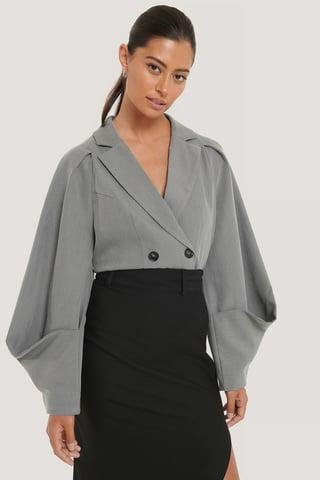 Grey Blazer Met Details