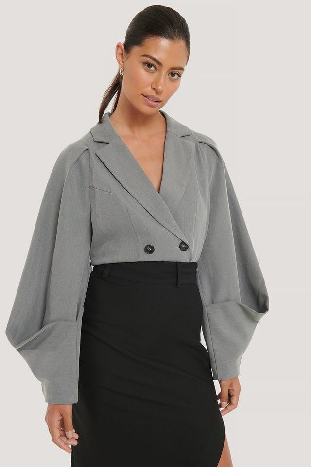 Grey Sleeve Detail Blazer