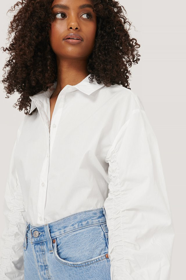 Sleeve Detail Shirt White