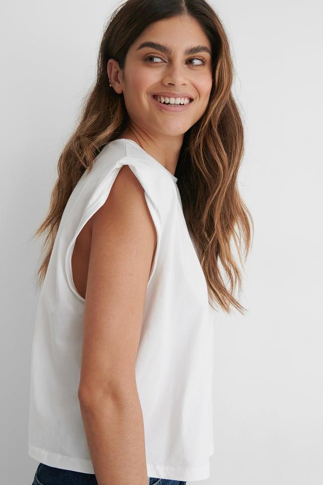 White Organic Sleeve Detail Top