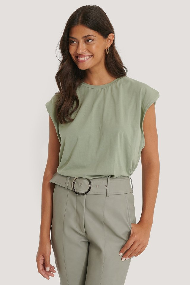 Khaki Organic Sleeve Detail Top