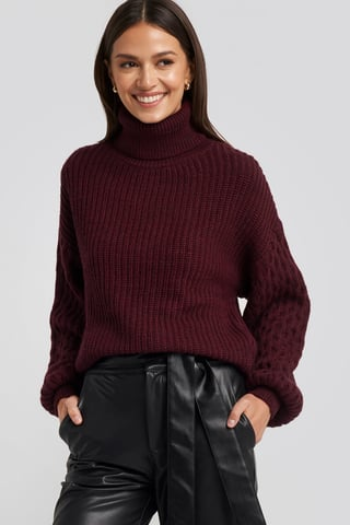 Burgundy Sleeve Detailed Knitted Polo Sweater