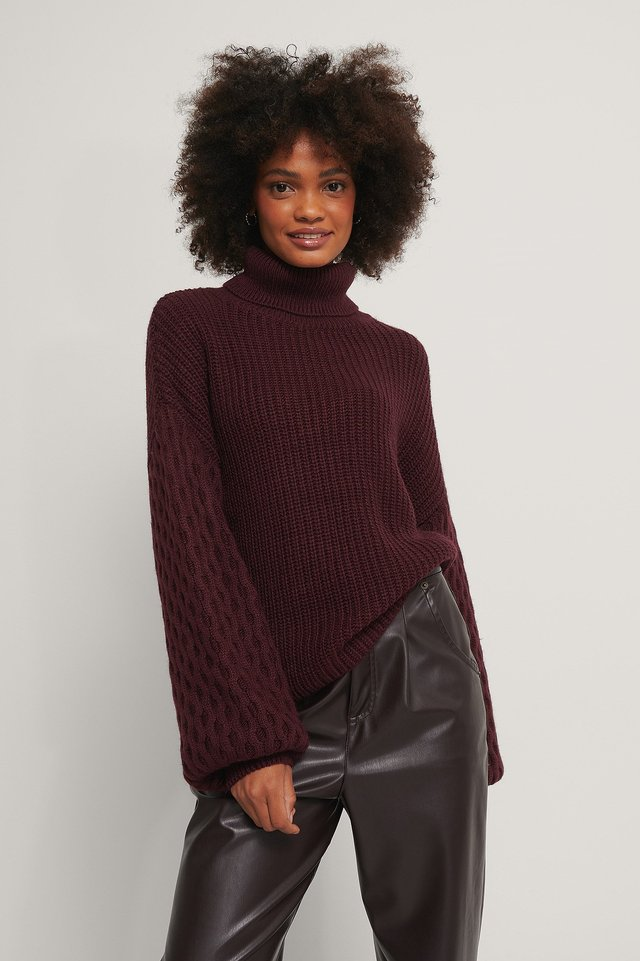 Sleeve Detailed Knitted Polo Sweater Plum