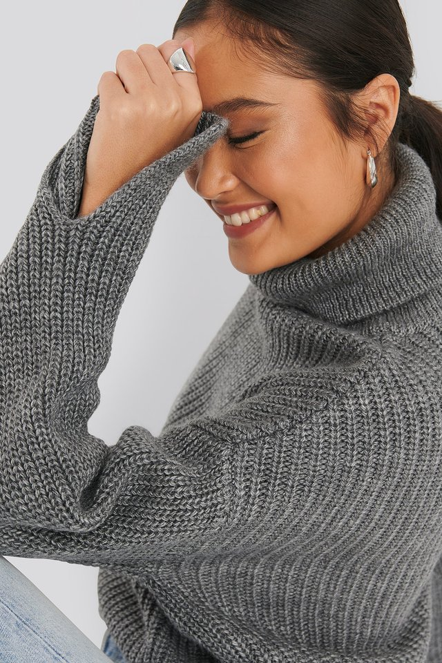 Sleeve Slit Knitted Sweater Grey