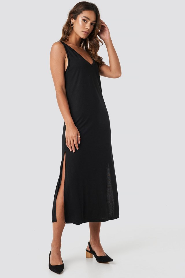 Deep Black Sleeveless Jersey Midi Dress