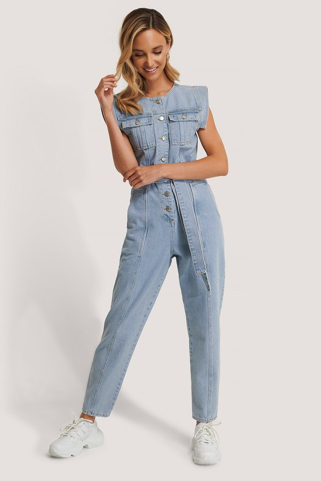 Sleeveless Jumpsuit Light Blue