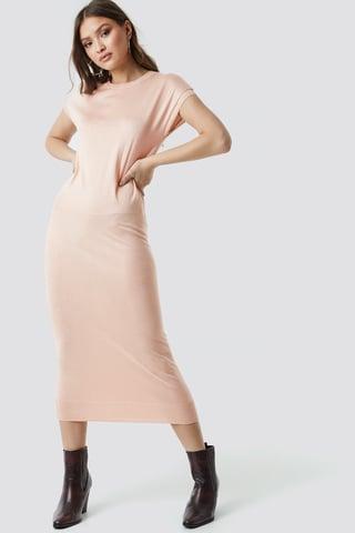 Soft Pink Karbowana Sukienka Midi Bez Rękawów