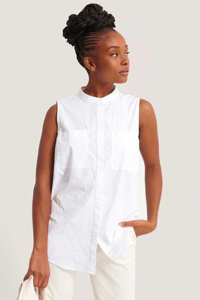 White Ärmlös Skjorta Med Ficka