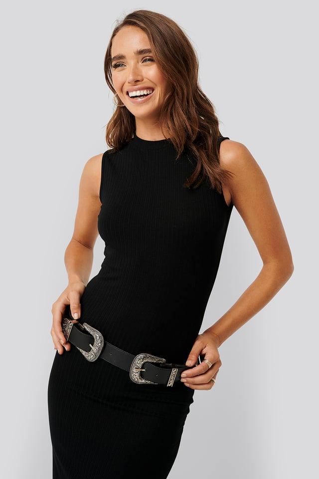 Black Sleeveless Ribbed Midi Dress