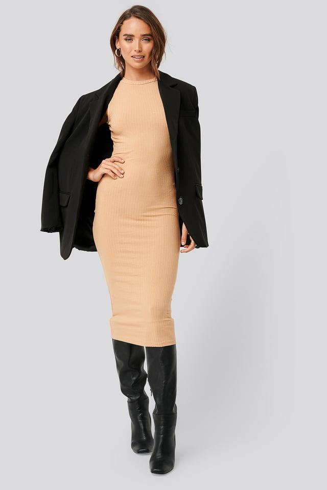 Tan Sleeveless Ribbed Midi Dress