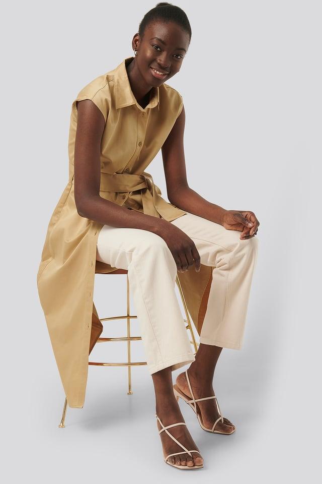 Beige Organic Sleeveless Shirt Dress