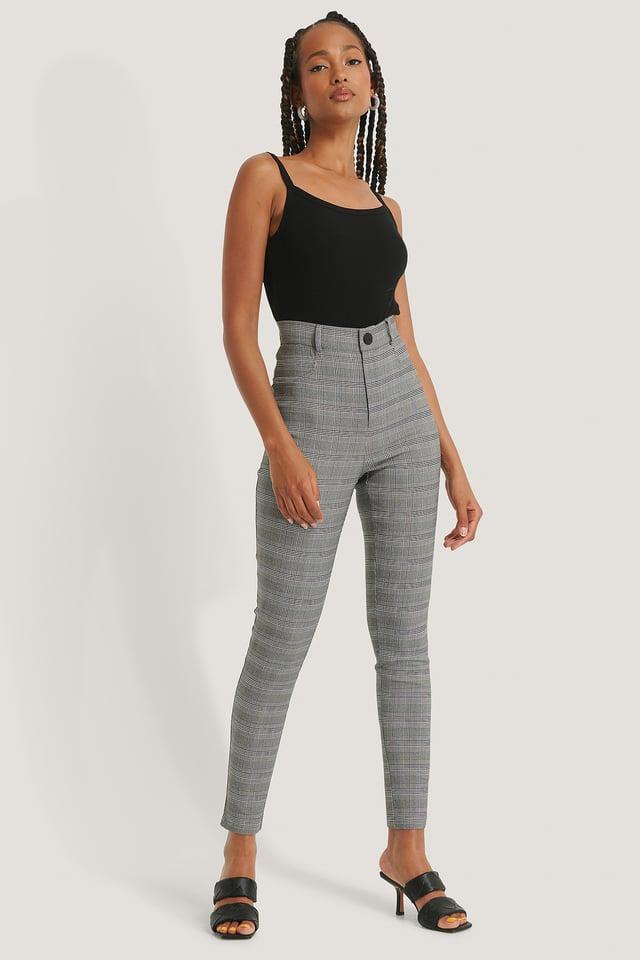 Slim Fit-Bukser Check
