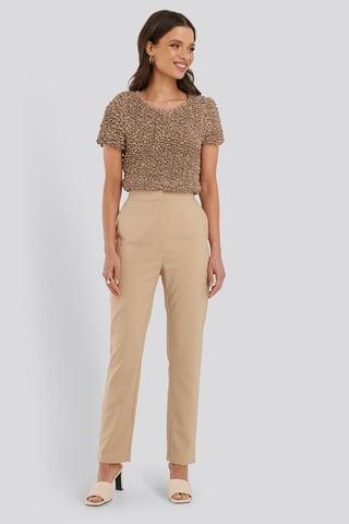 Beige Slim-fit Suit Pants