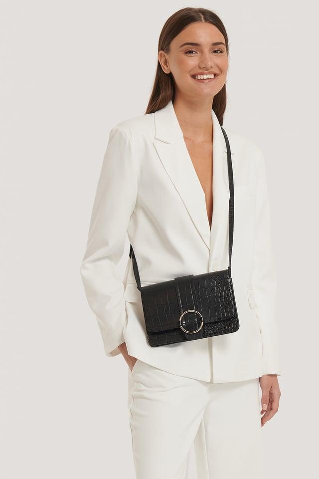 Black Slim Buckle Detail Crossbody Bag