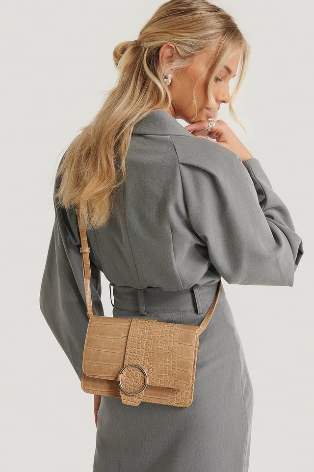 Slim Buckle Detail Crossbody Bag Beige