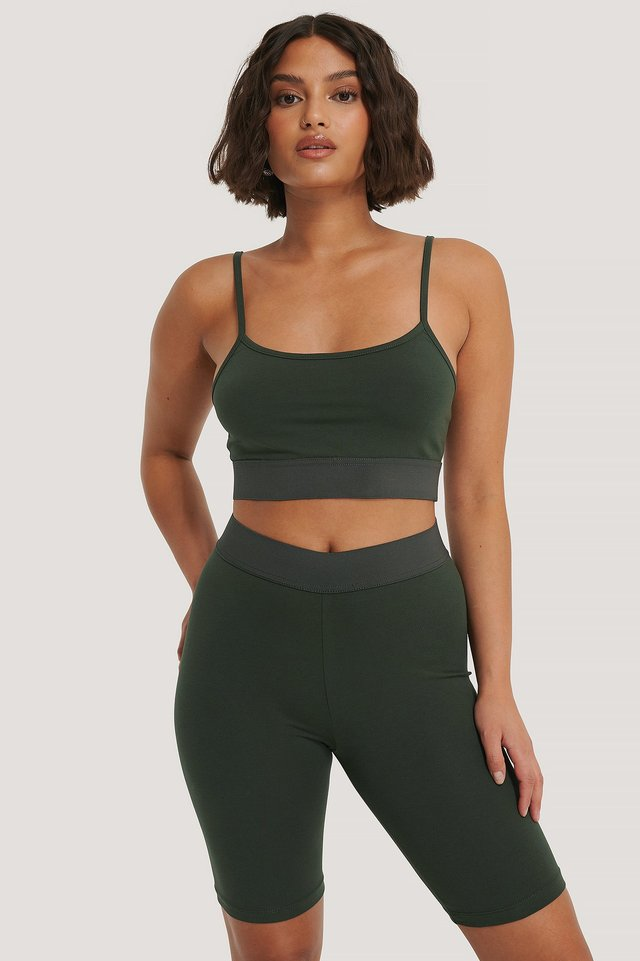 Organic Slim Cropped Top Khaki